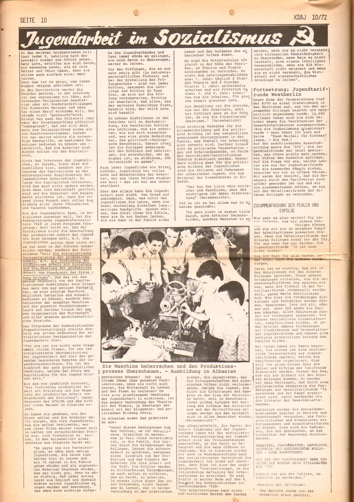 KDAJ, 3. Jg., November 1972, Nr. 10, Seite 10