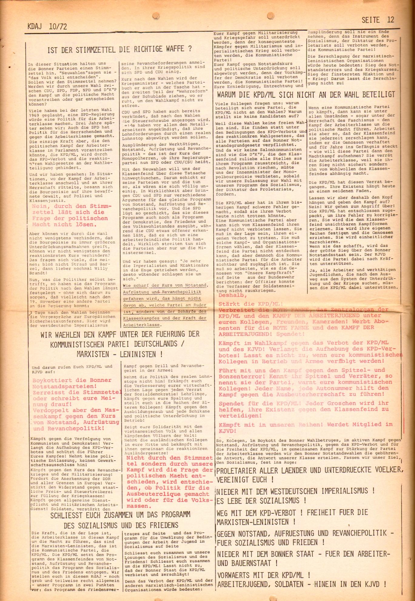 KDAJ, 3. Jg., November 1972, Nr. 10, Seite 12