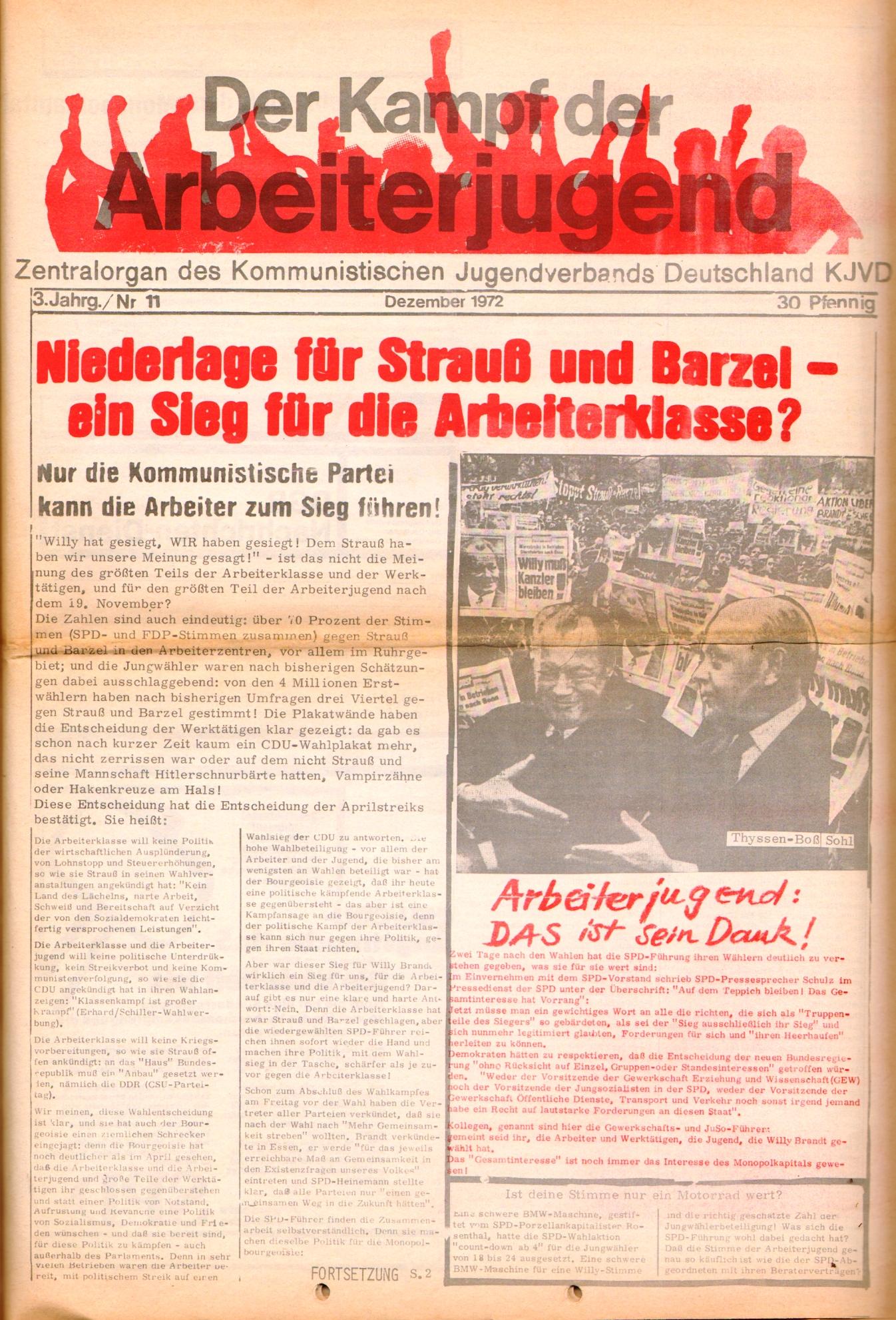 KDAJ, 3. Jg., Dezember 1972, Nr. 11, Seite 1