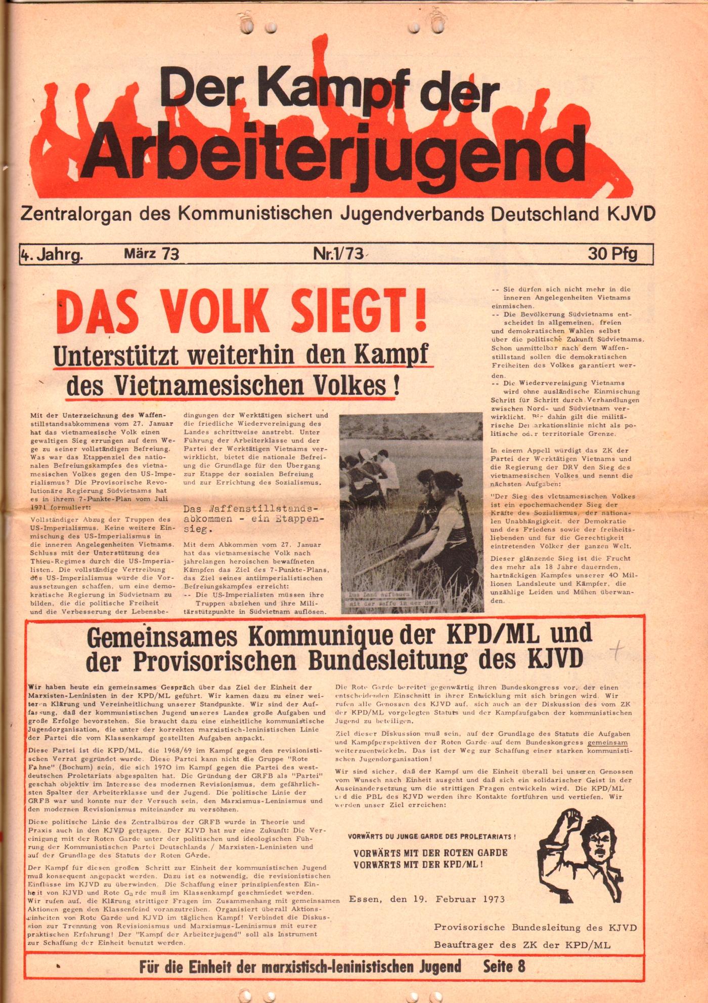 KDAJ, 4. Jg., März 1973, Nr. 1, Seite 1