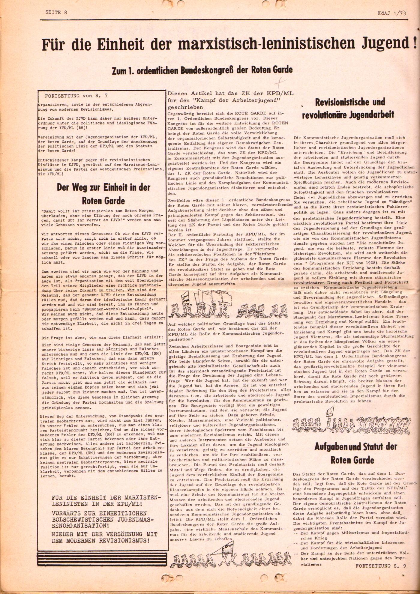 KDAJ, 4. Jg., März 1973, Nr. 1, Seite 8