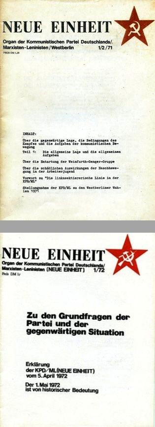 Neue Einheit, 1/2 (1971) und 1 (1972)
