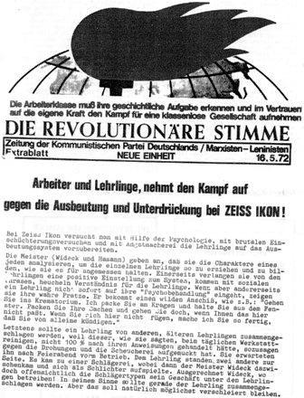 Die Revolutionäre Stimme, Extrablatt vom 16.5.1972