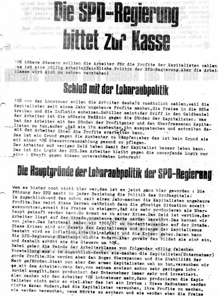 Die SPD_Regierung bittet zur Kasse _ Flugblatt der KPD/ML, 1970 (Vorderseite)