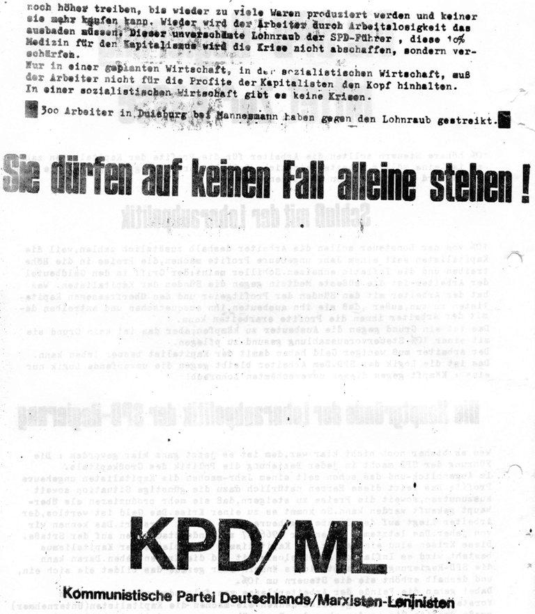 Die SPD_Regierung bittet zur Kasse _ Flugblatt der KPD/ML, 1970 (Rückseite)