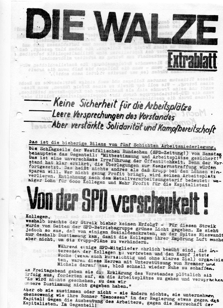 Die Walze, Extrablatt, 1970 (Vorderseite)