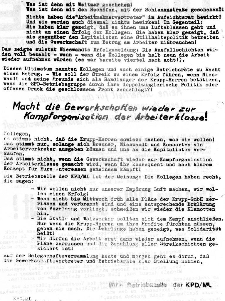 Die Walze, Extrablatt, 1970 (Rueckseite)