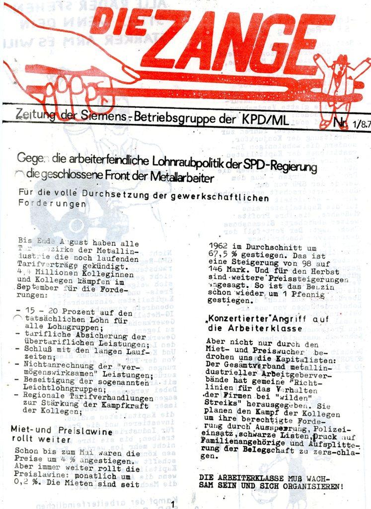 Die Zange, Nr. 1, 1970, Seite 1