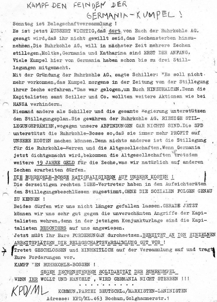 Kampf den Feinden der Germania_Kumpel! Flugblatt der KPD/ML_ZB (1970)