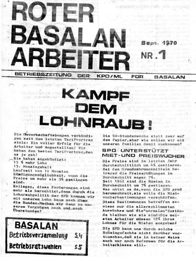 Roter Basalan_Arbeiter, Nr. 1, 1970, Seite 1