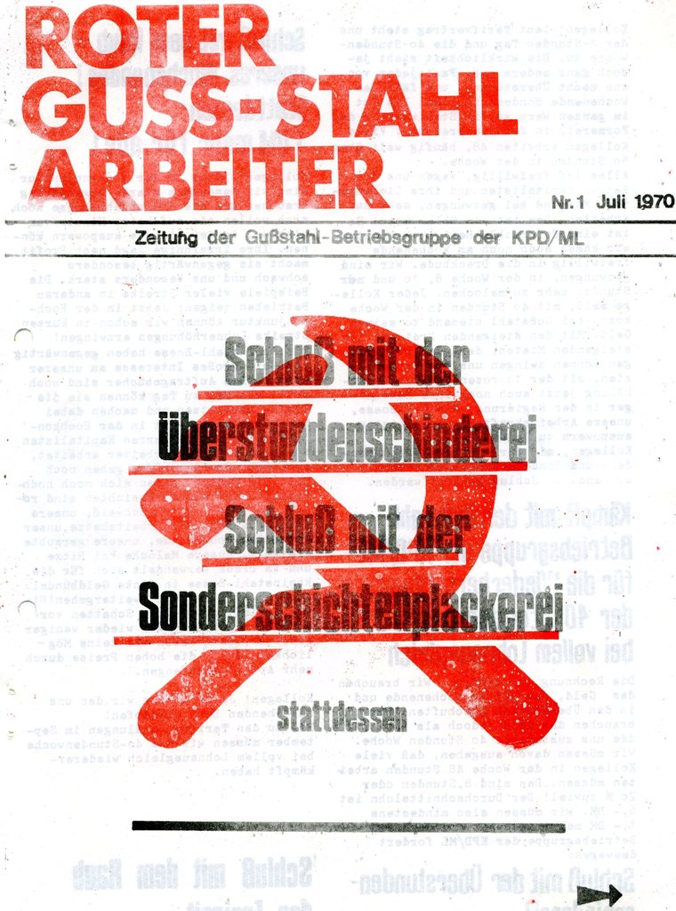 Roter Guss_Stahl Arbeiter, Nr. 1, 1970, Seite 1