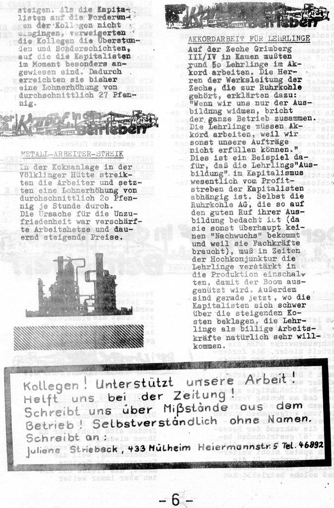 Roter Hütten_Arbeiter, Nr. 5, Sept. 1970, Seite 6