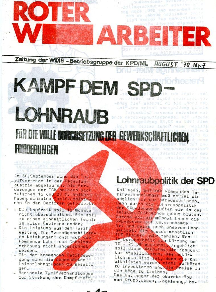 Der Rote W_Arbeiter, Nr. 7, August 1970, Seite 1