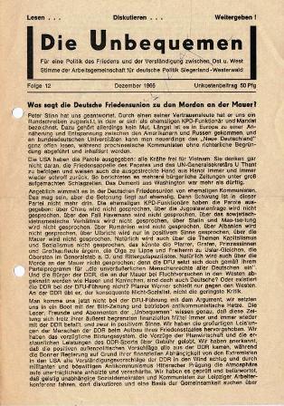 Die Unbequemen. Stimme der Arbeitsgemeinschaft für deutsche Politik Siegerland_Westerwald, Folge 12, Dezember 1966