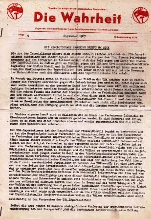 Die Wahrheit. Organ des ZK der FSP/ML, Folge 5, September 1967