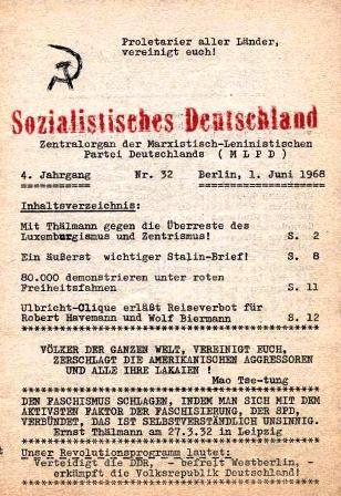 Sozialistisches Deutschland. Zentralorgan der Marxistisch_Leninistischen Partei Deutschlands (MLPD), 4. Jg., Nr. 32, Berlin, 1. Juni 1968