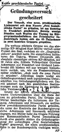 Nachricht in der Frankfurter Rundschau vom 24.4.1967: Gründungsversuch gescheitert. Keine prochinesische Partei