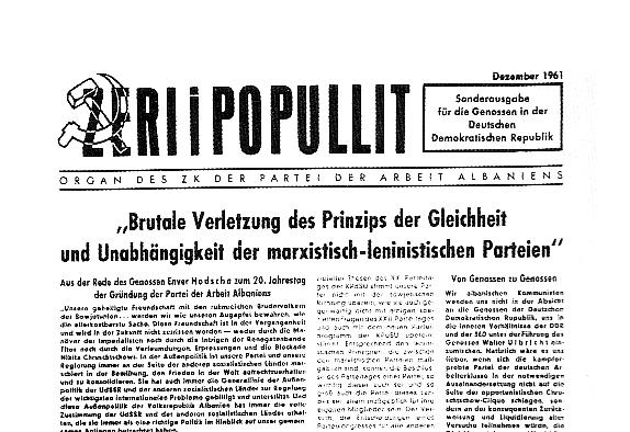 Zeri i Popullit. Organ des ZK der PdAA. Sonderausgabe für die Genossen in der DDR (Dezember 1961)