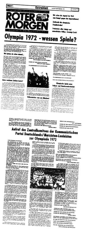 Extrablatt des Roten Morgen zur Olympiade in München 1972