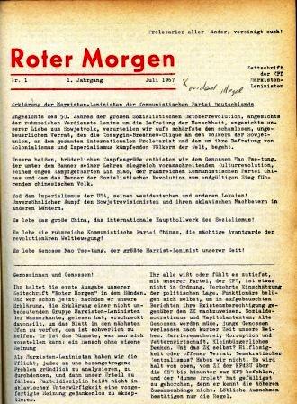 Die erste Nummer des Roten Morgen (Nr. 1, Juli 1967)