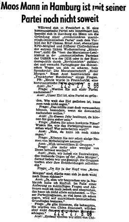 Interview mit Ernst Aust in der Frankfurter Rundschau vom 27.9.1968