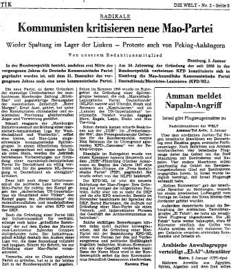 Artikel aus der Welt vom 3.1.1969: Kommunisten kritisieren neue Mao_Partei