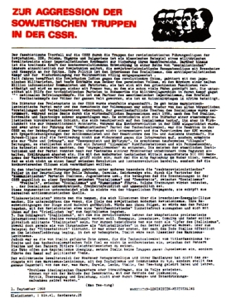 Flugblatt der Marxisten_Leninisten Westberlin vom 1. September 1968: Zur Aggression der sowjetischen Truppen in der CSSR