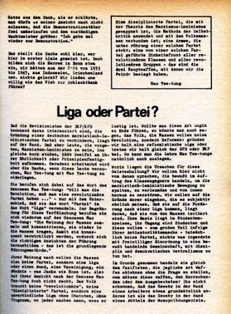 Artikel: Liga oder Partei? In: Roter Morgen, Dezember 1968/Januar 1969, S. 8
