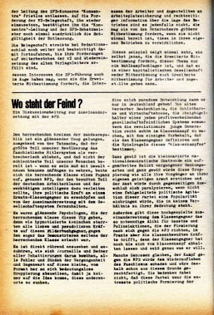 Artikel: Wo steht der Feind? In: Roter Morgen, Dezember 1968/Januar 1969, S. 14f.