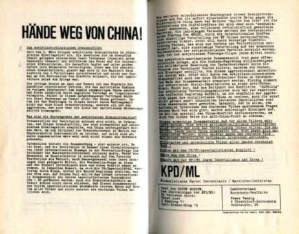 Flugblatt der KPD/ML (LV NRW): Hände weg von China! (1969)