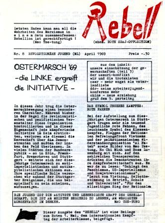 Rebell, hg. v. d. Revolutionären Jugend (ML), Nr. 8, April 1969, Titelseite