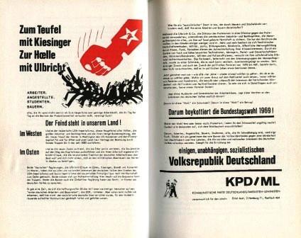 Flugblatt der KPD/ML zur Bundestagswahl 1969: Zum Teufel mit Kiesinger _ Zur Hölle mit Ulbricht