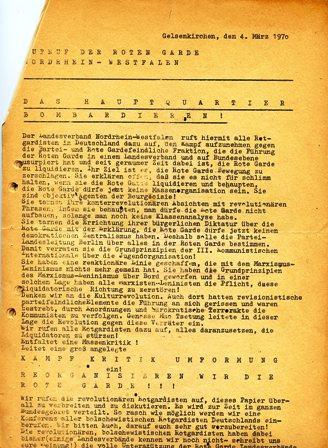 Aufruf der RG NRW: Das Hauptquartier bombardieren! (Gelsenkirchen, 4.3.1970)