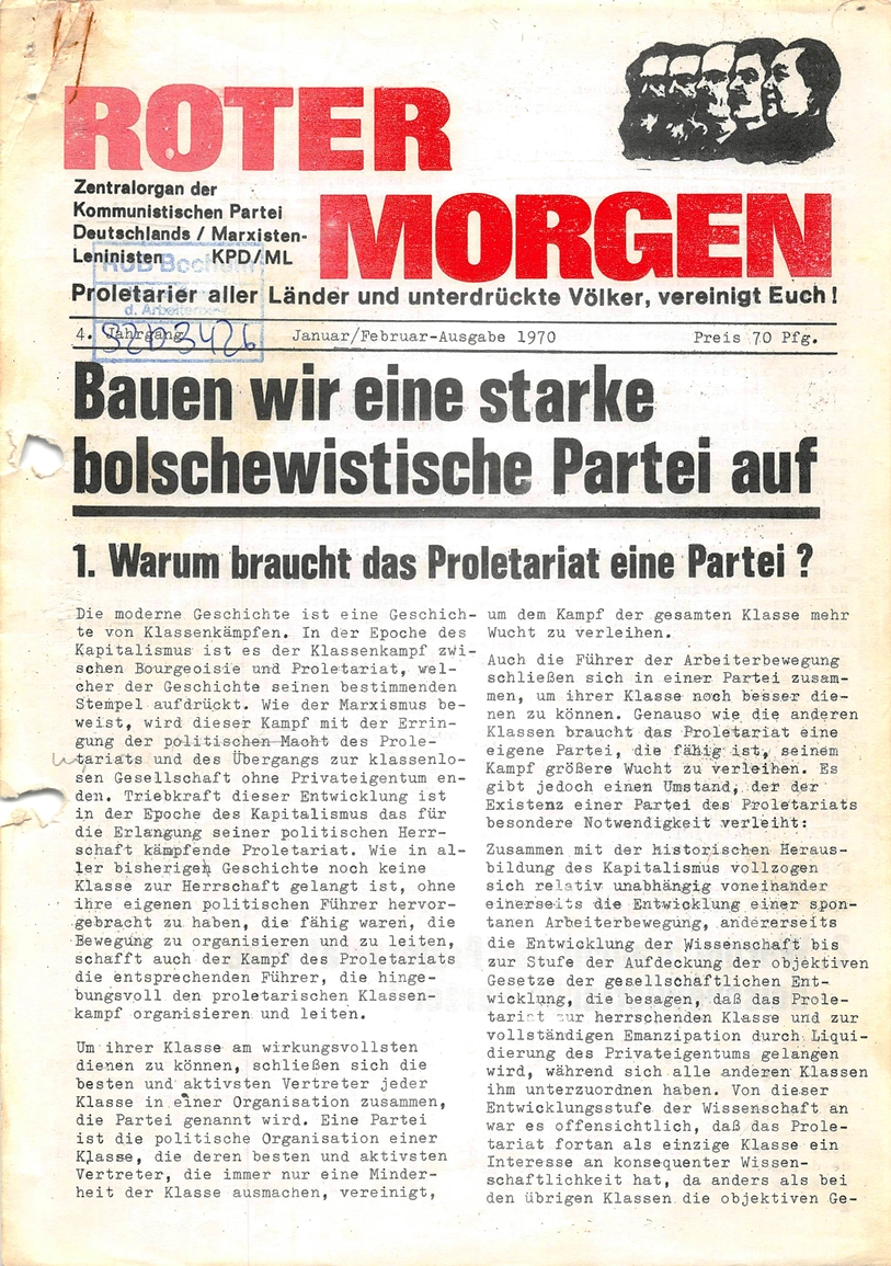 Roter Morgen, 4. Jg., Januar/Februar 1970, Seite 1