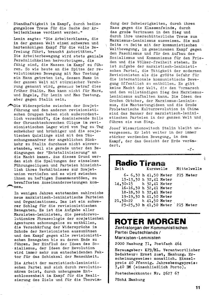 Roter Morgen, 4. Jg., Januar/Februar 1970, Seite 11