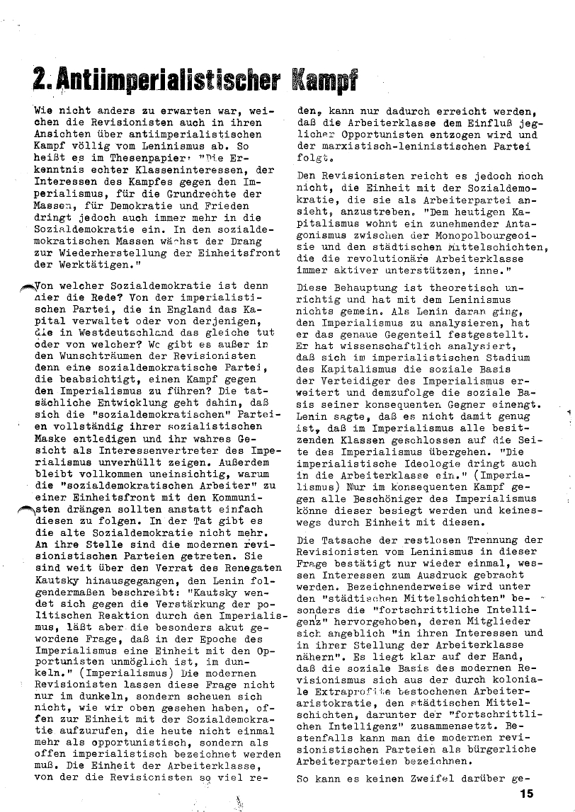Roter Morgen, 4. Jg., Januar/Februar 1970, Seite 15