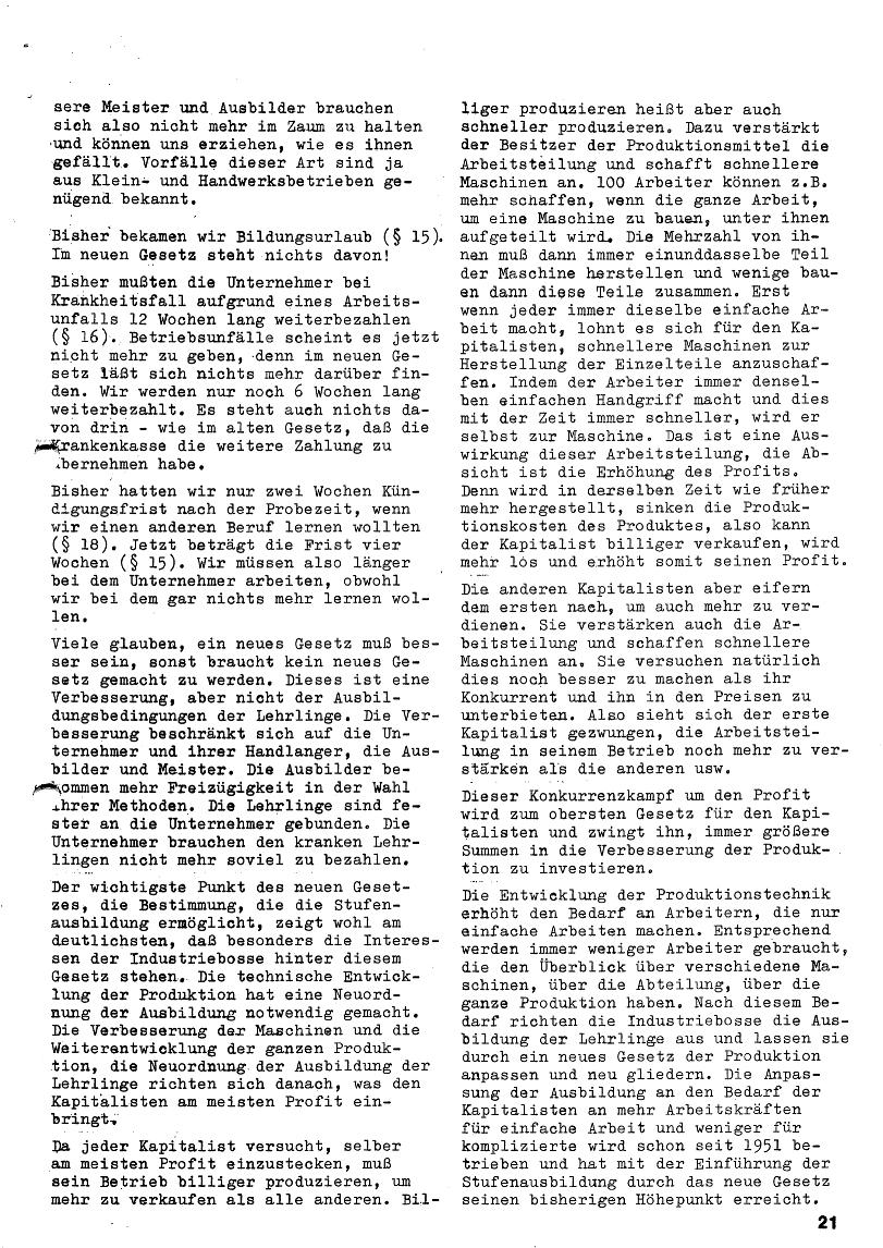 Roter Morgen, 4. Jg., Januar/Februar 1970, Seite 21