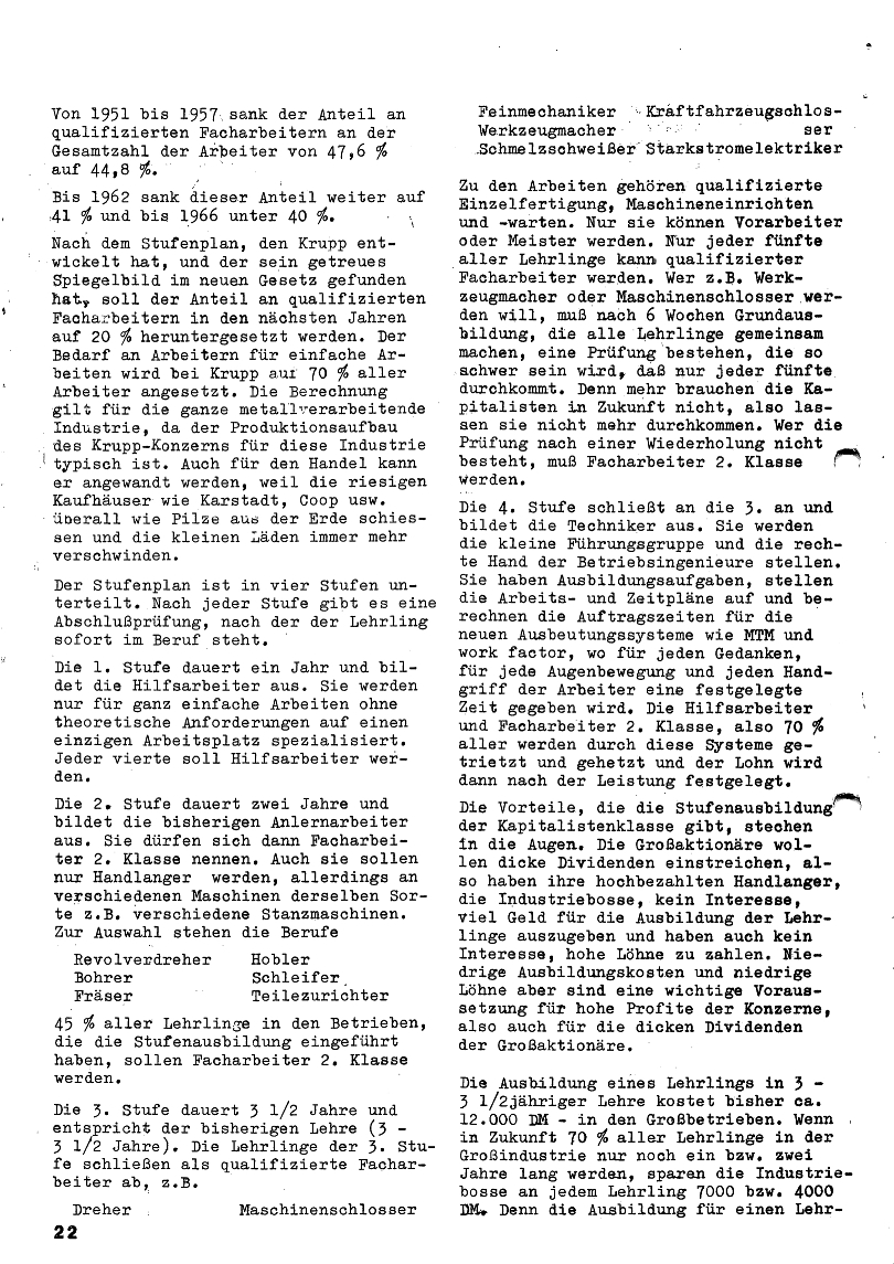 Roter Morgen, 4. Jg., Januar/Februar 1970, Seite 22