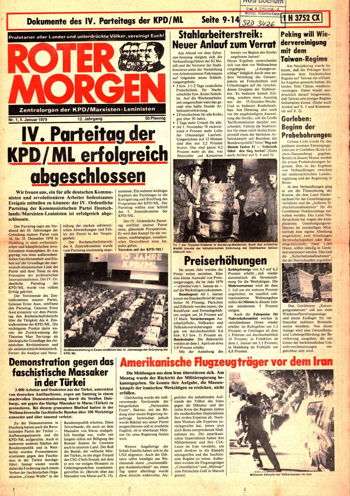 Roter Morgen, 13. Jg., 5. Januar 1979, Nr. 1, Seite 1