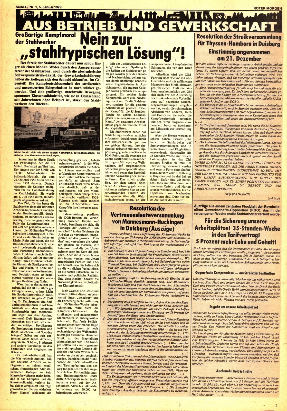 Roter Morgen, 13. Jg., 5. Januar 1979, Nr. 1, Seite 4