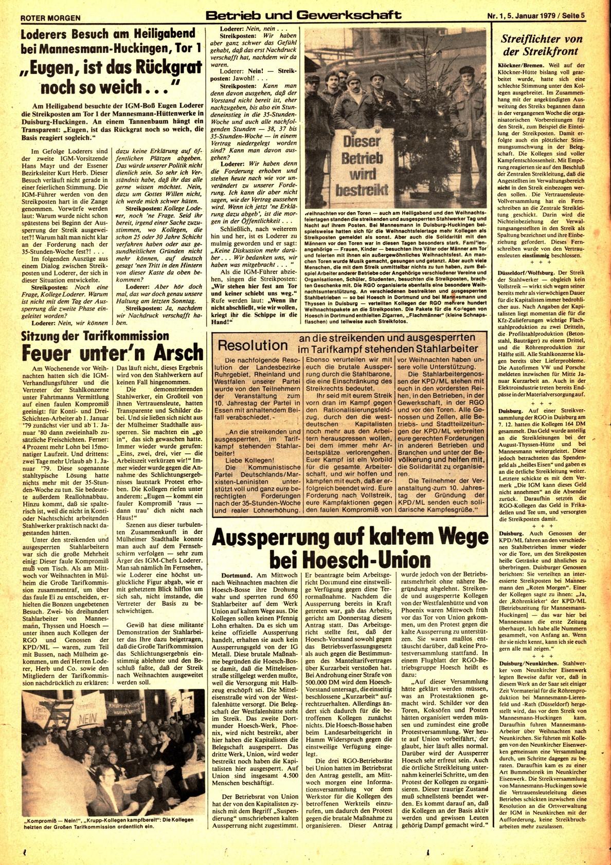 Roter Morgen, 13. Jg., 5. Januar 1979, Nr. 1, Seite 5
