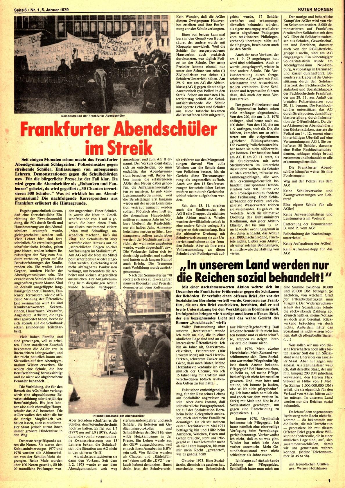 Roter Morgen, 13. Jg., 5. Januar 1979, Nr. 1, Seite 6
