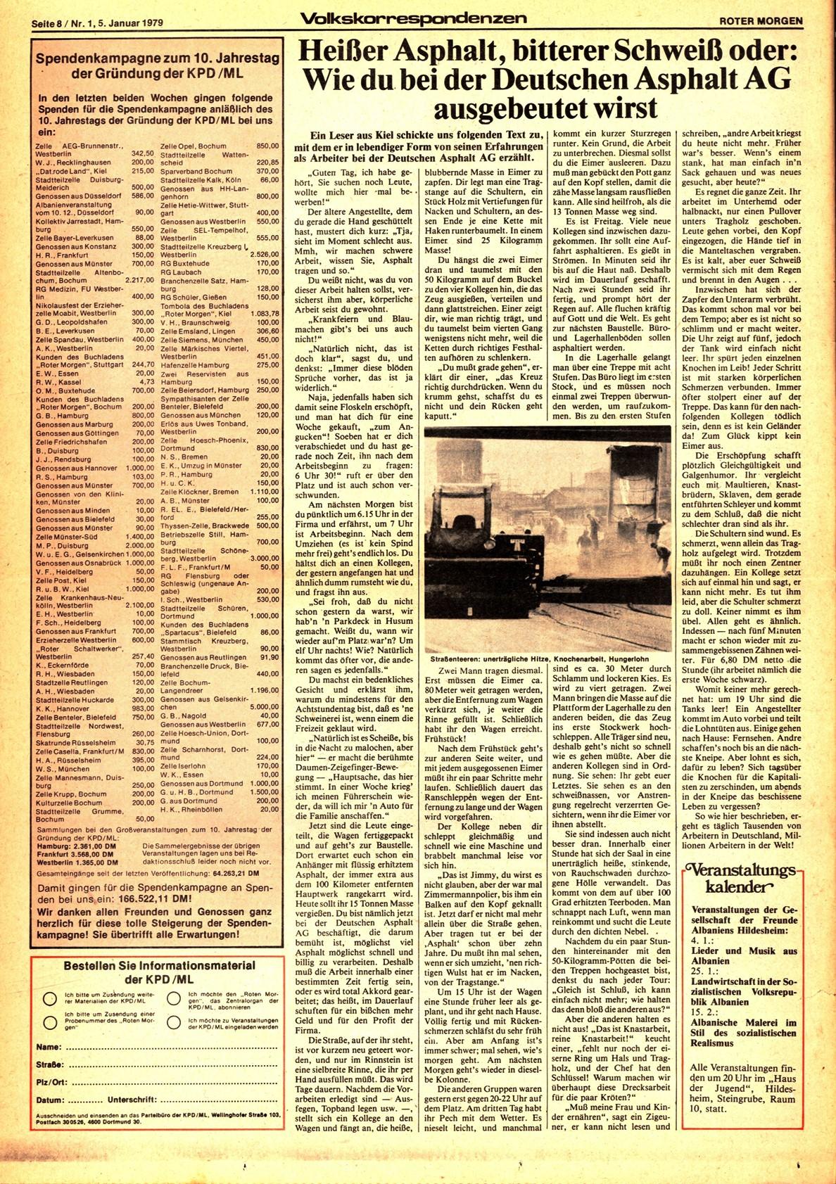 Roter Morgen, 13. Jg., 5. Januar 1979, Nr. 1, Seite 8