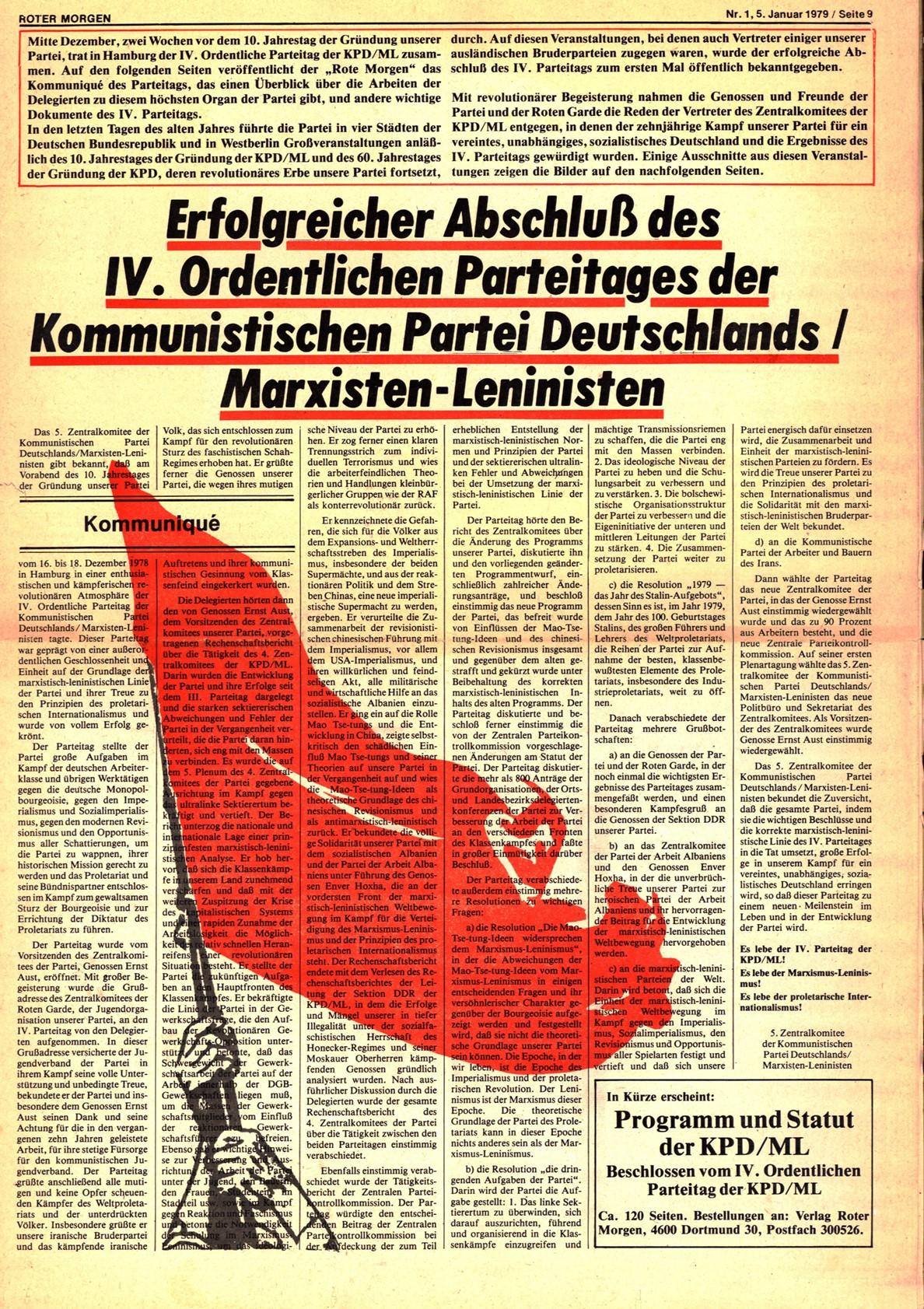 Roter Morgen, 13. Jg., 5. Januar 1979, Nr. 1, Seite 9