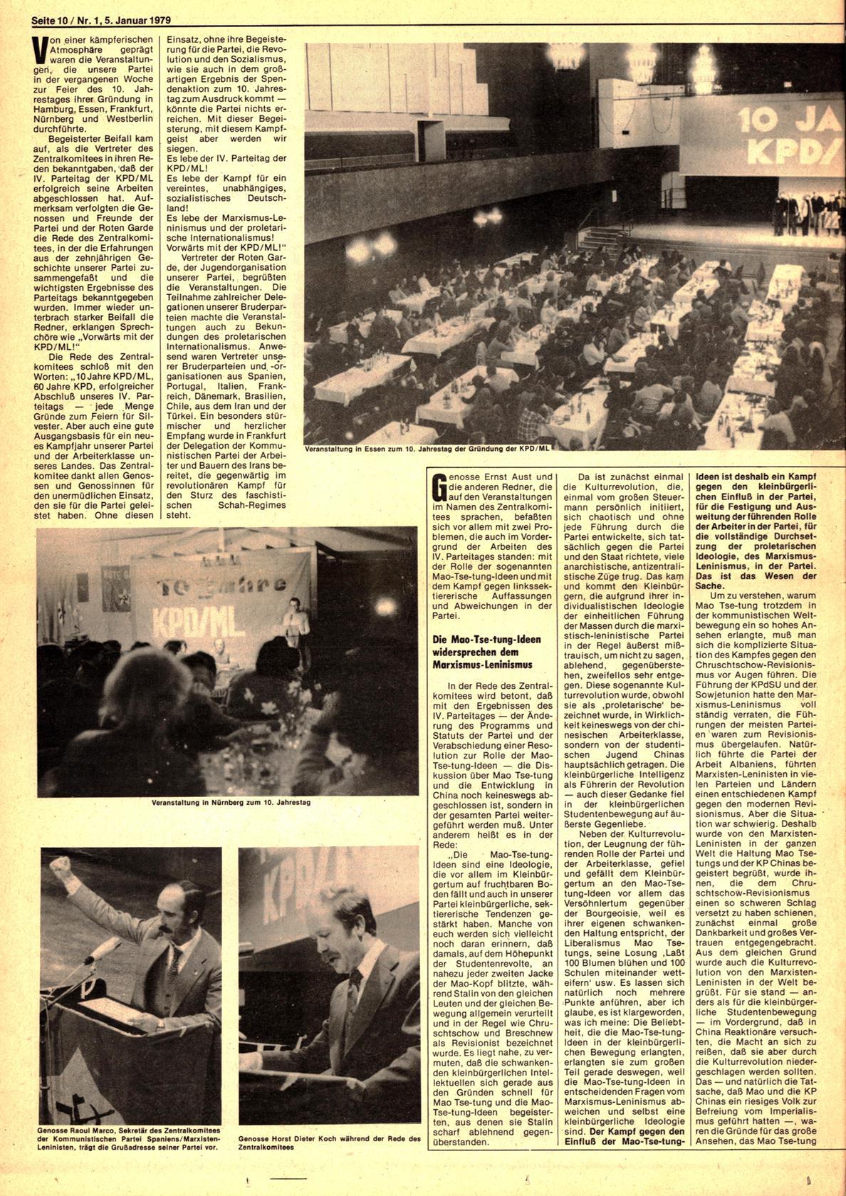 Roter Morgen, 13. Jg., 5. Januar 1979, Nr. 1, Seite 10