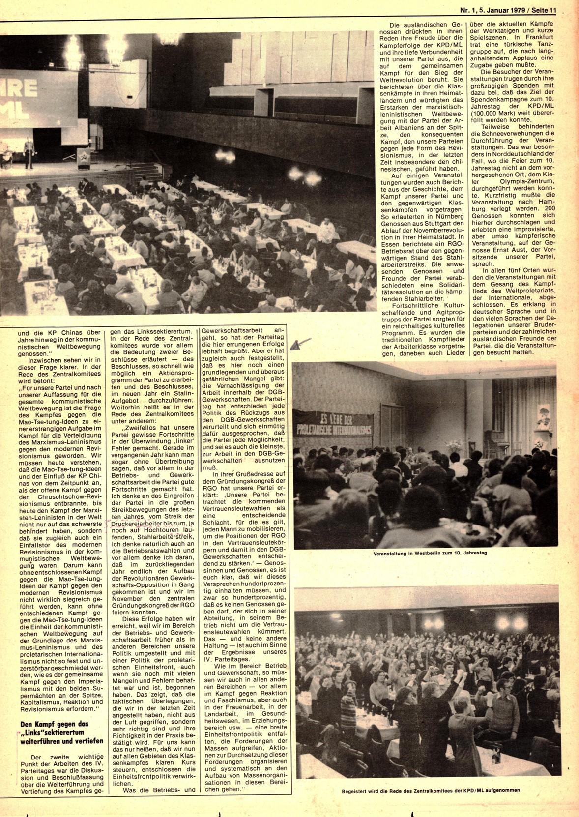 Roter Morgen, 13. Jg., 5. Januar 1979, Nr. 1, Seite 11