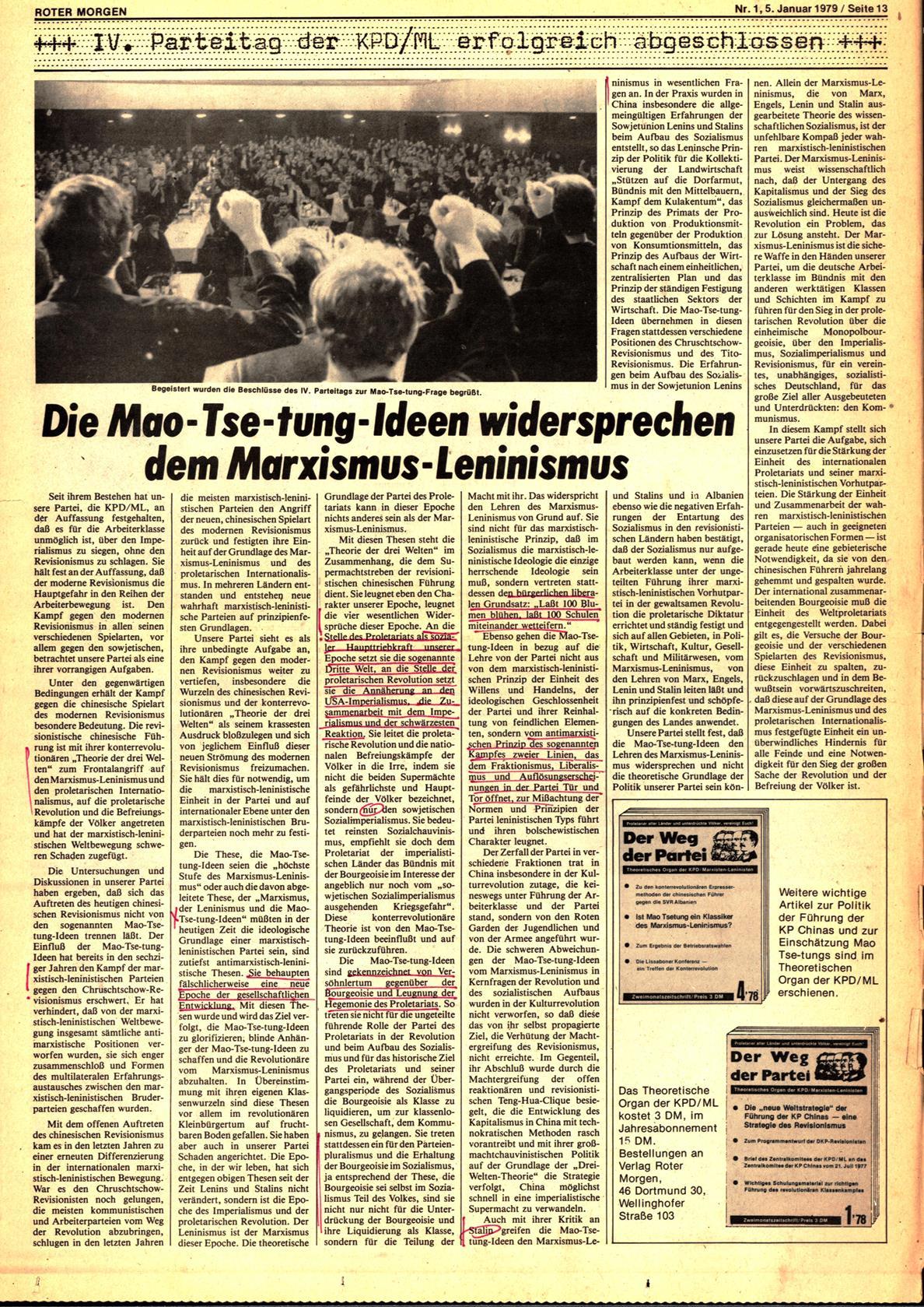 Roter Morgen, 13. Jg., 5. Januar 1979, Nr. 1, Seite 13