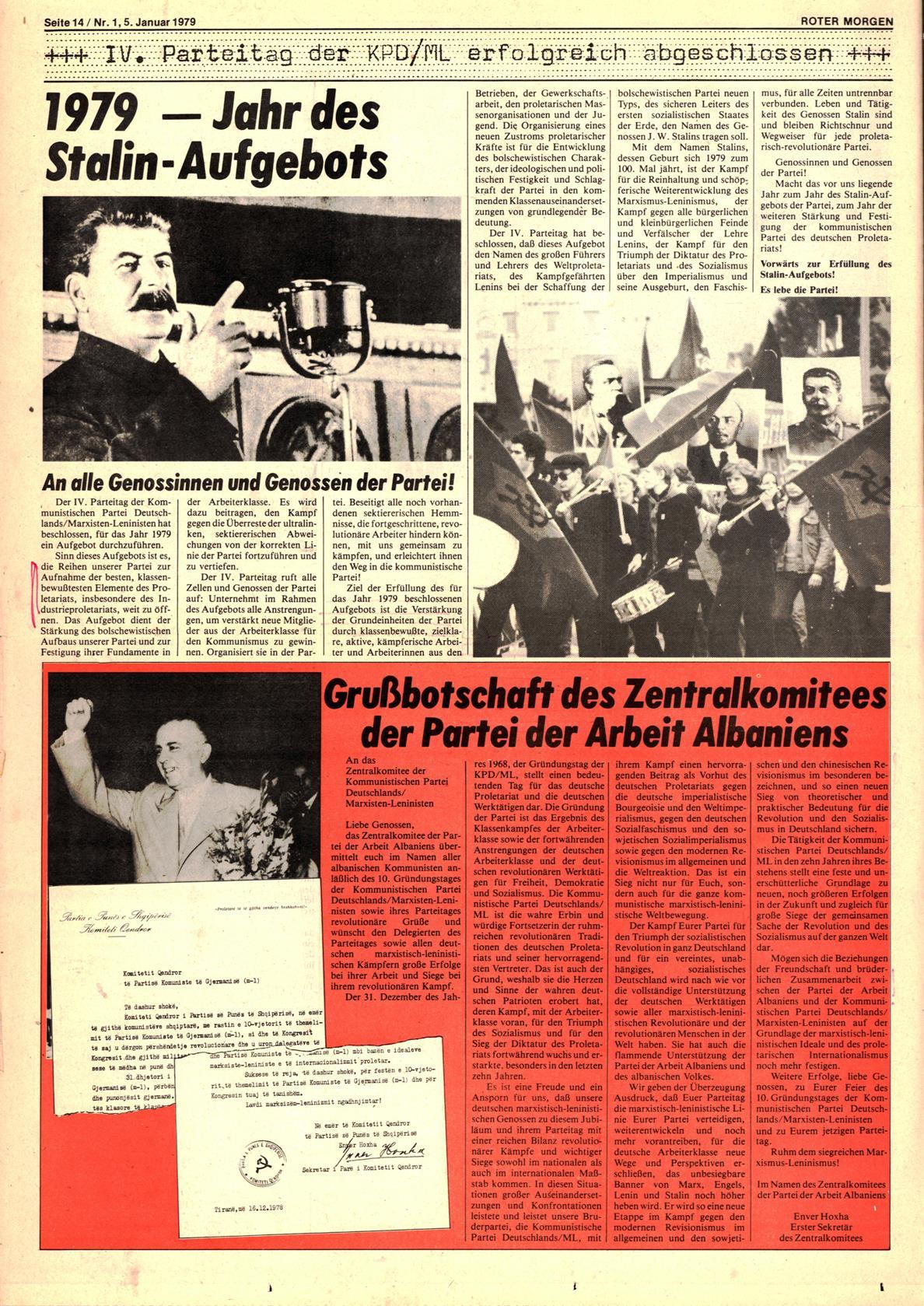 Roter Morgen, 13. Jg., 5. Januar 1979, Nr. 1, Seite 14