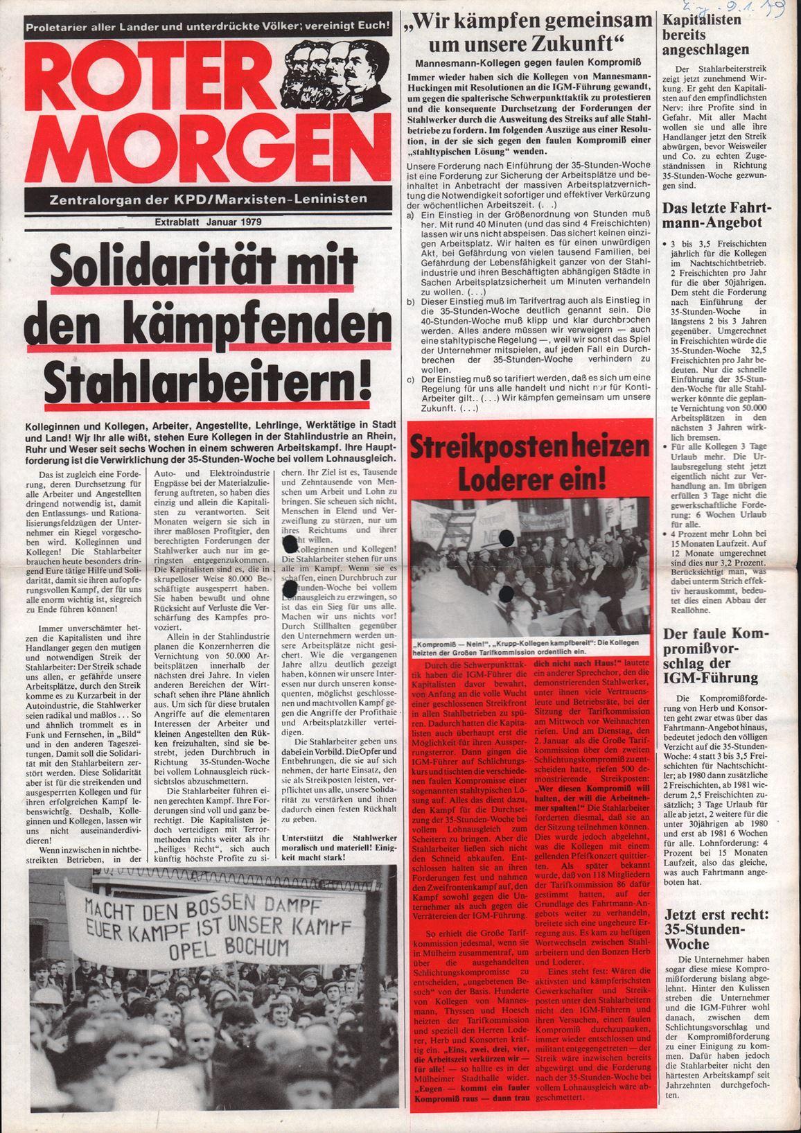 Roter Morgen, 13. Jg., Januar 1979, Extrablatt, Seite 1