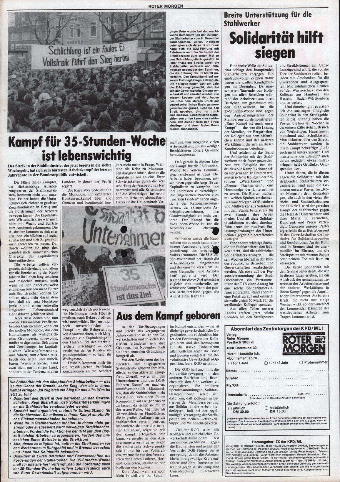 Roter Morgen, 13. Jg., Januar 1979, Extrablatt, Seite 2